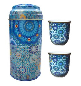 "Images d'orient 2 porseleinen koffiekopjes ""Moucharabieh Blue"" 90ml in  stapeltrommel"