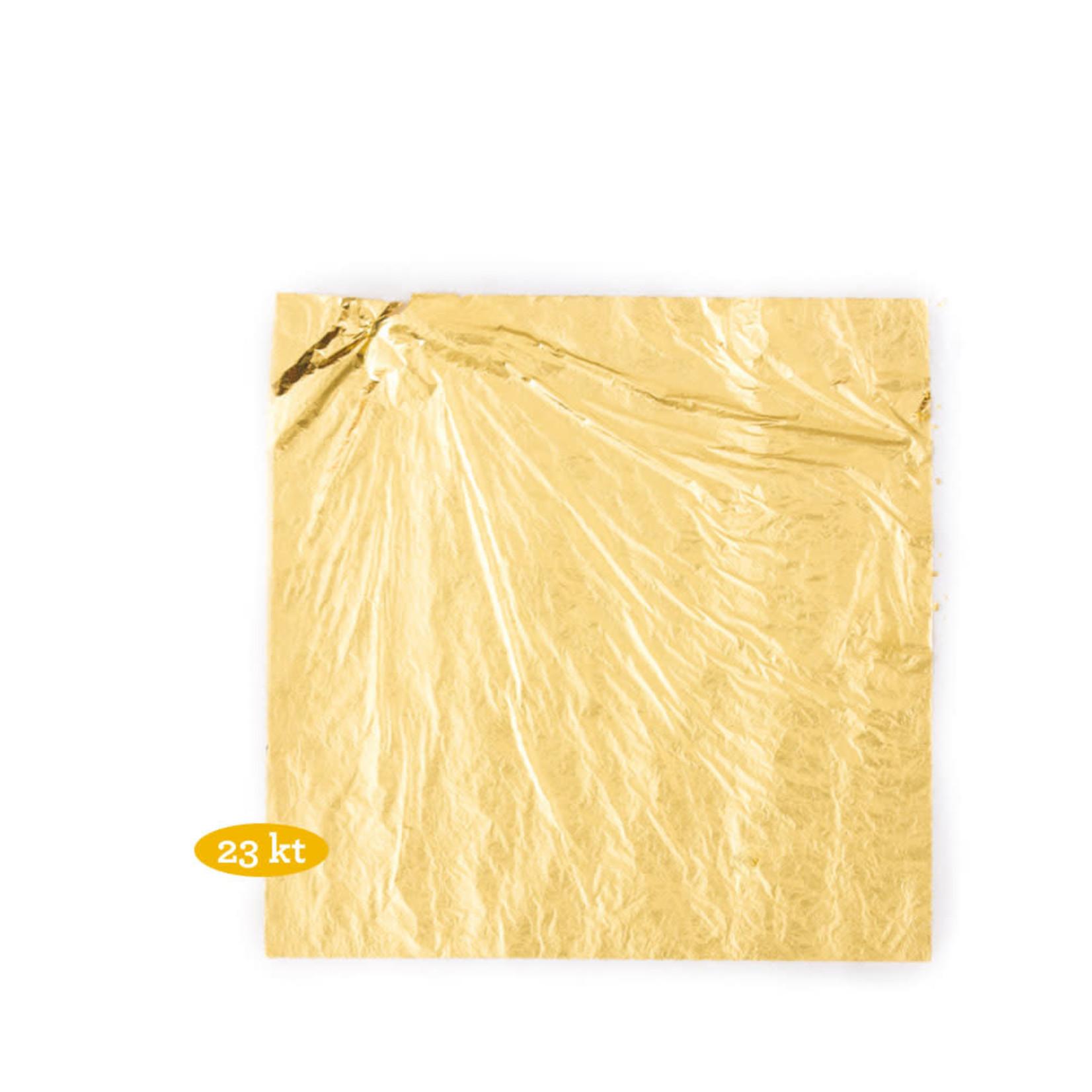 Decora eetbaar bladgoud, vijf velletjes van 8,6x8,6cm