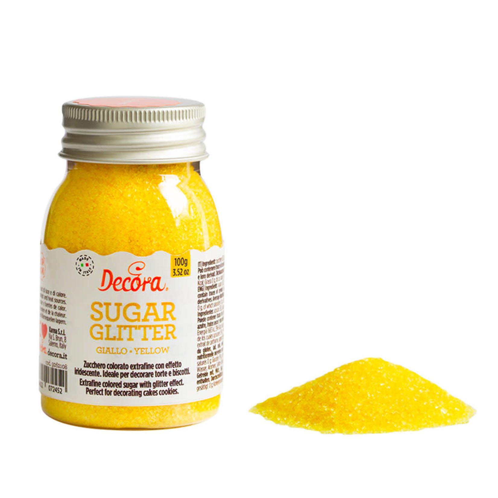 Decora glittersuiker geel 100g