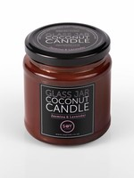 Amber glass jar coconut candle - Jasmine and lavender
