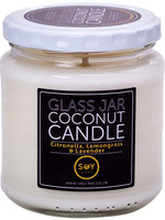 Amber Glass Jar Coconut Candle - Citronella, Lemongrass And Lavender