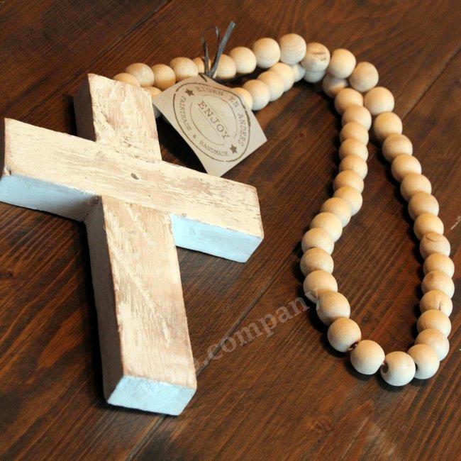 Houten kralenketting met kruis