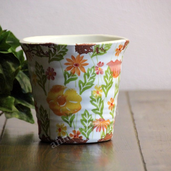 Villa Pottery Gekleurde pot Flowergarden - multi orange