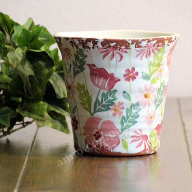 Villa Pottery Gekleurde pot Flowergarden -  multi-pink