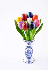 Delft Blue Vase with 9 Small Wooden Tulips