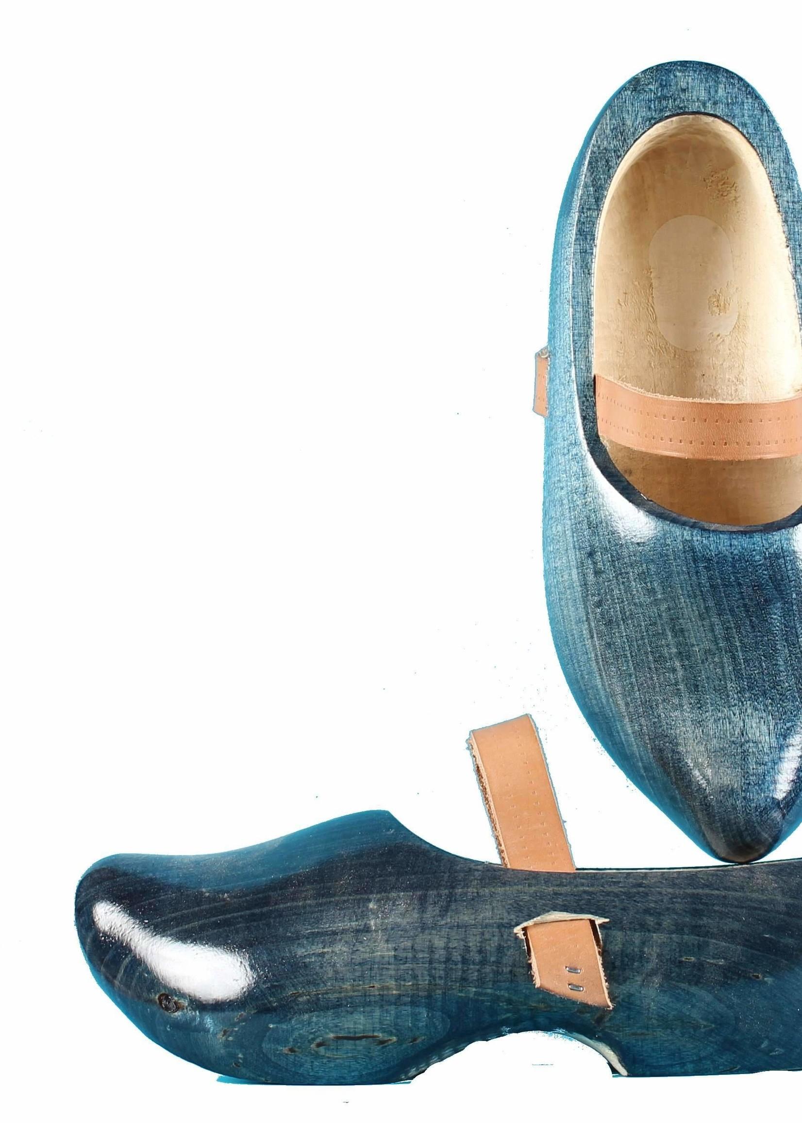 Wooden Shoe Factory Marken Wooden Shoes Tripklomp Denim, Leather Strap Clog