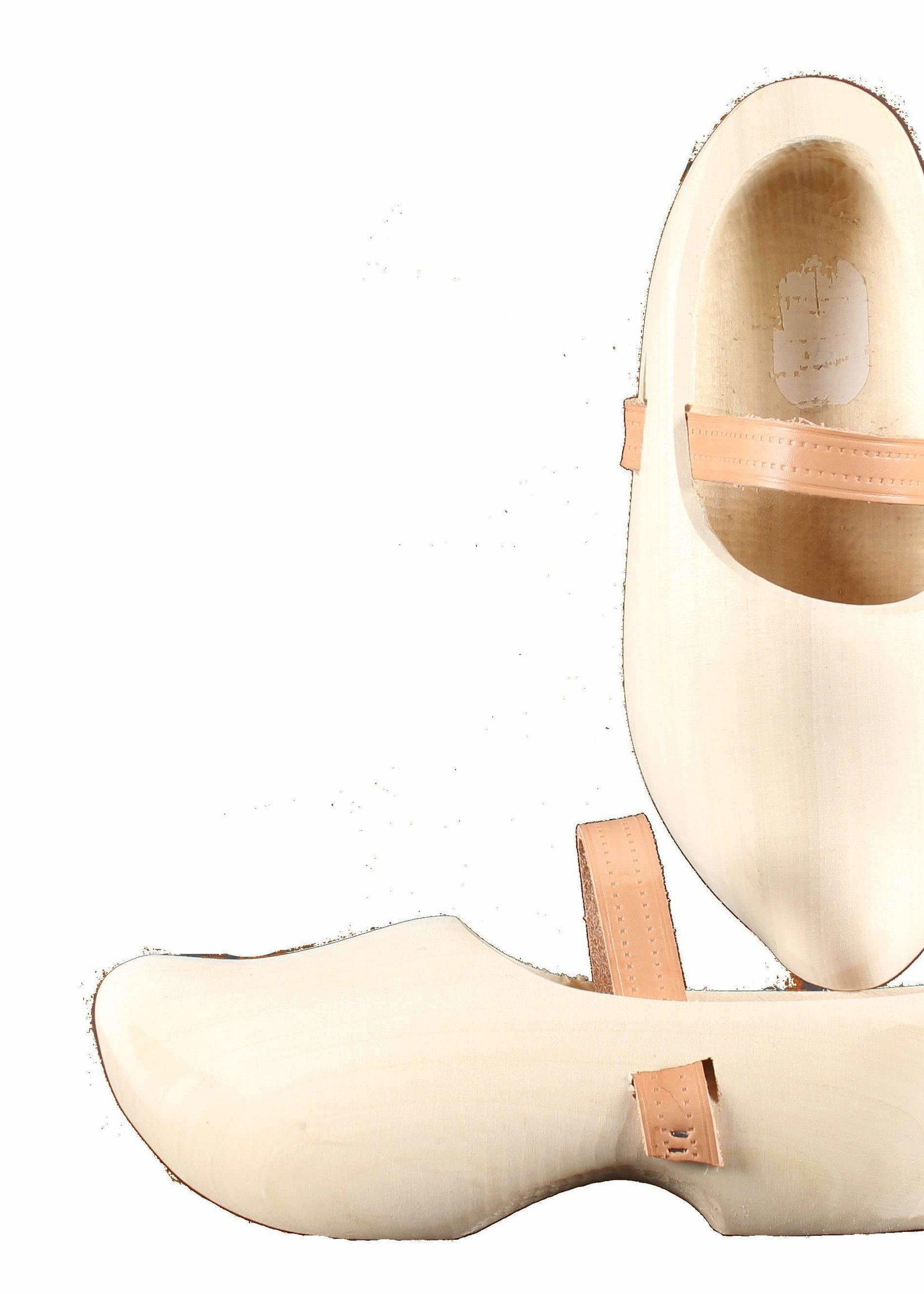 Wooden Shoe Factory Marken Tripklompen Blank, Klomp met Leren Band