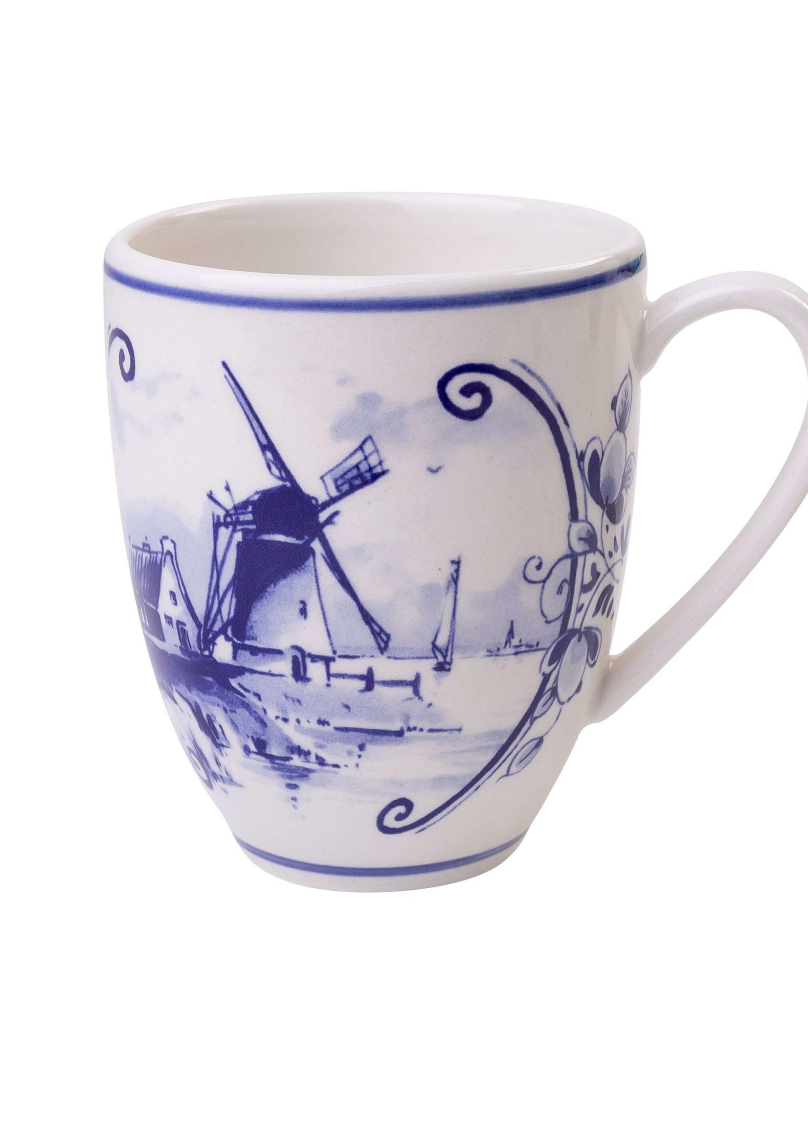 Heinen Delfts Blauw Delfts Blauwe Koffiemok Groot, 400 ml met een Hollands Landschap met een Windmolen 2
