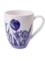 Heinen Delfts Blauw Delfts Blauwe Koffiemok met een Tulp Design, Groot