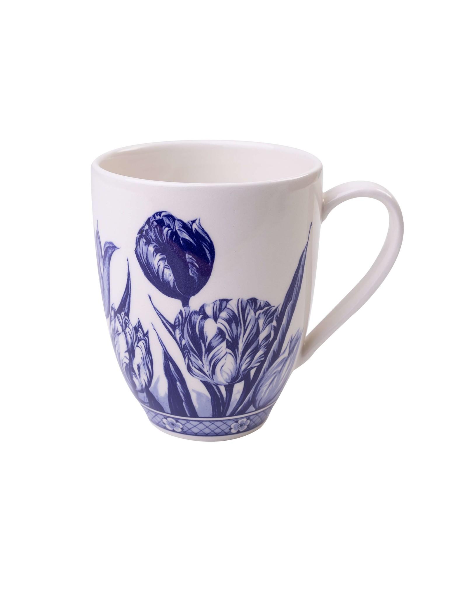Heinen Delfts Blauw Delfts Blauwe Koffiemok met een Tulp Design, Groot 400 ml