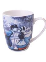 Heinen Delfts Blauw Delfts Blauwe Mok met een Hollands Kussend Paar