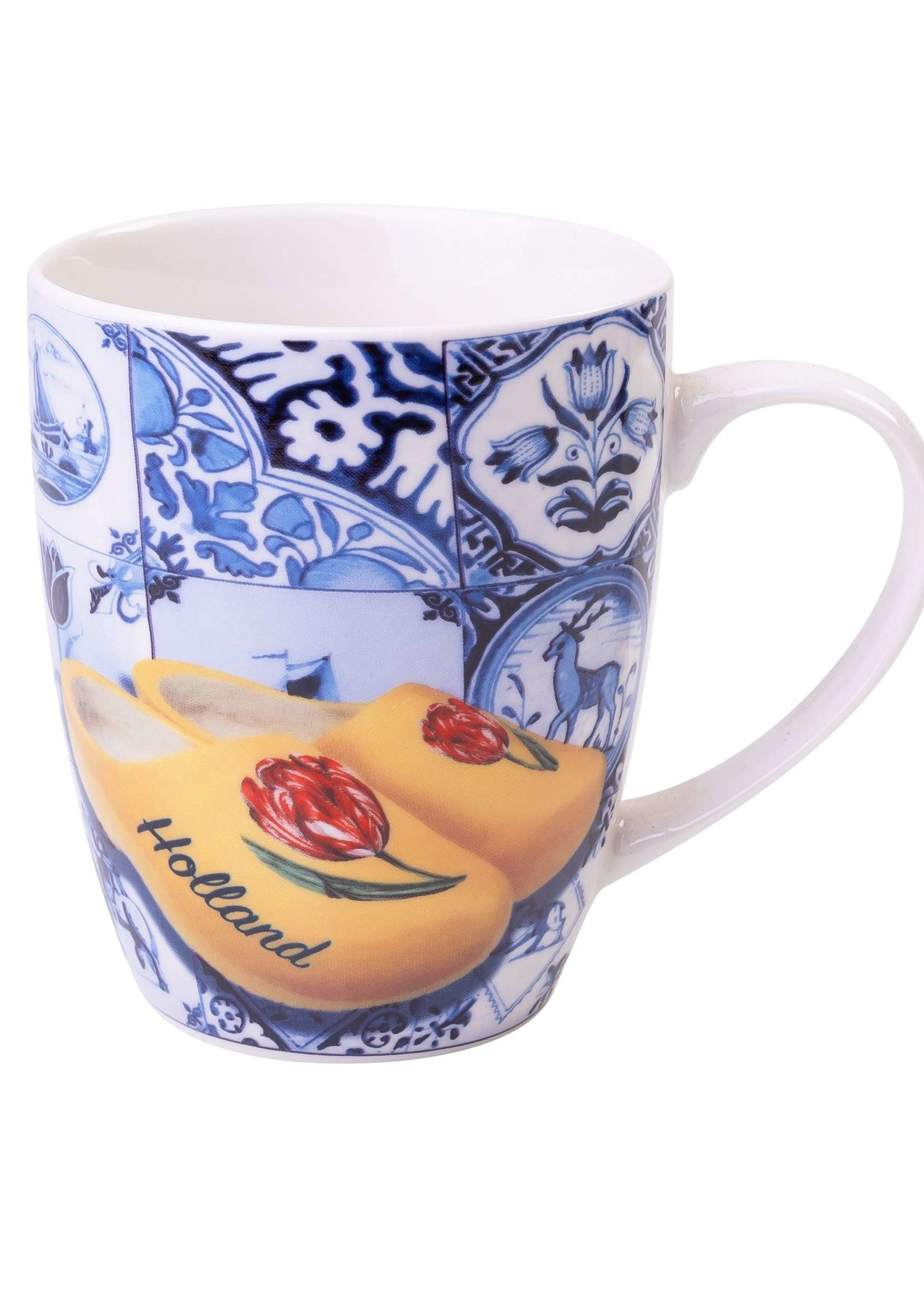 Heinen Delfts Blauw Delft Blue Mug with Tiles and Wooden Shoes, 300 ml / 10,1 oz