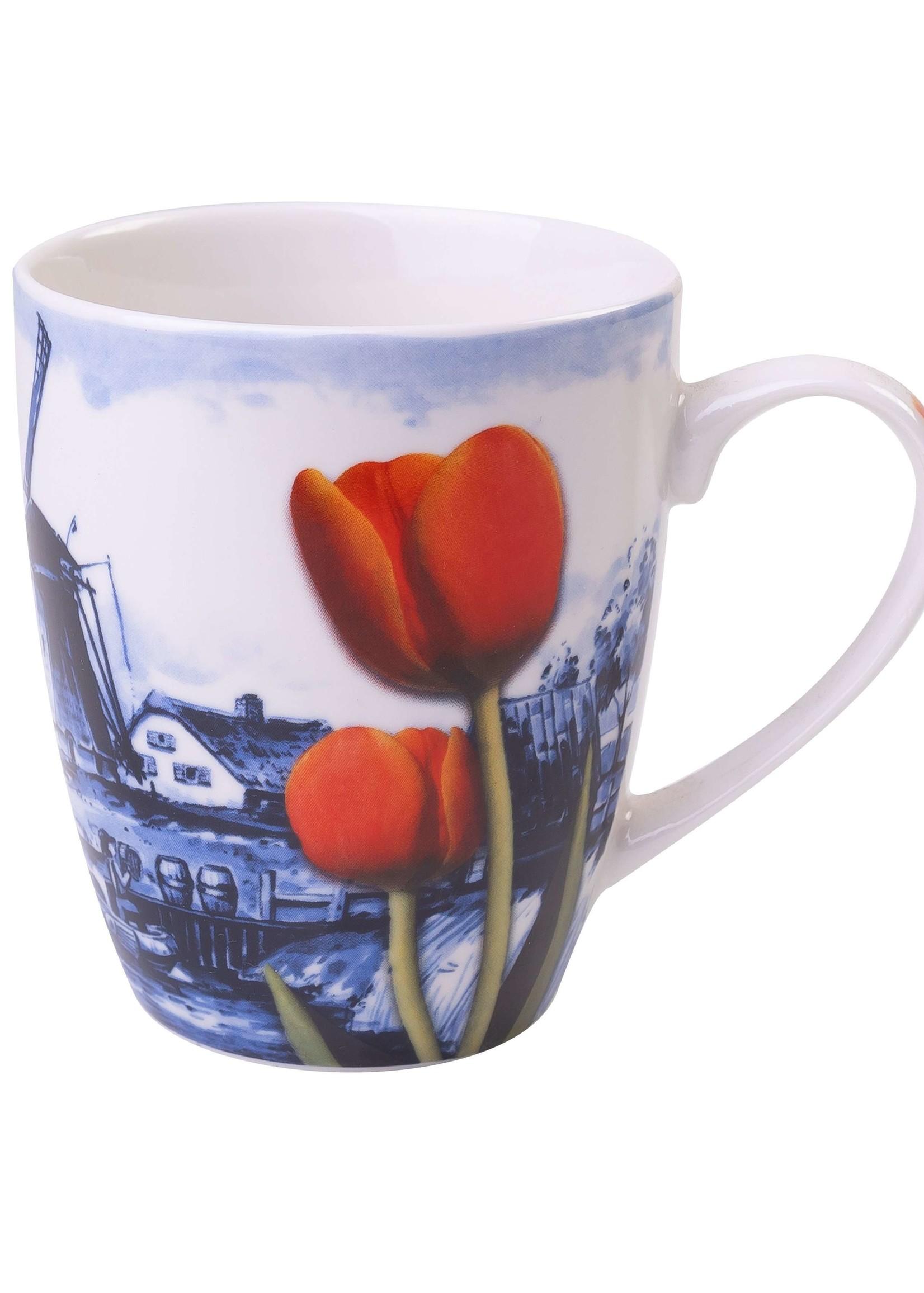 Heinen Delfts Blauw Delfts Blauwe Mok met een Landschap Met Windmolens en Tulpen, 300 ml