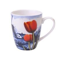 Delfts Blauwe Mok met een Landschap Met Windmolens en Tulpen, 300 ml