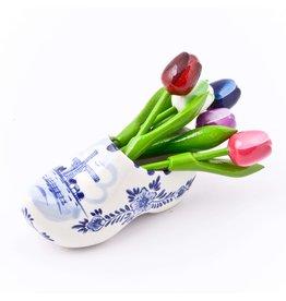 Delfts Blauwe Klomp met Houten Tulpen
