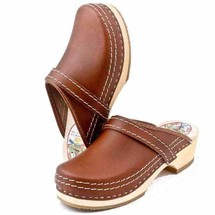 Leather Clogs, Simson, Brown,