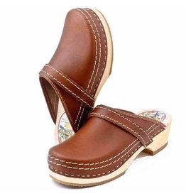 Simson Leather Clogs, Simson, Brown,