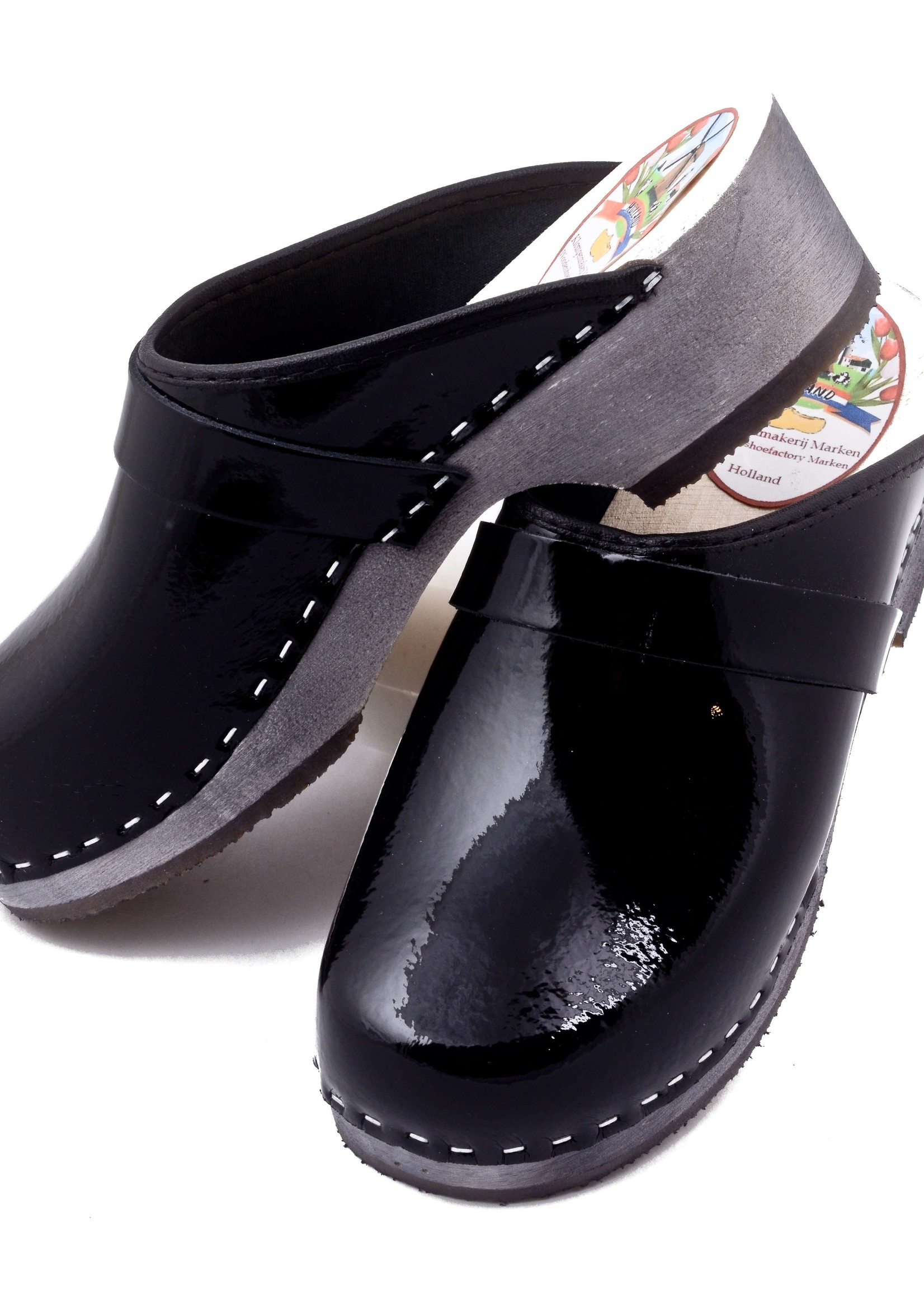 Simson Leather Clogs, Simson, Shiny Black, Orthepedic Footwear