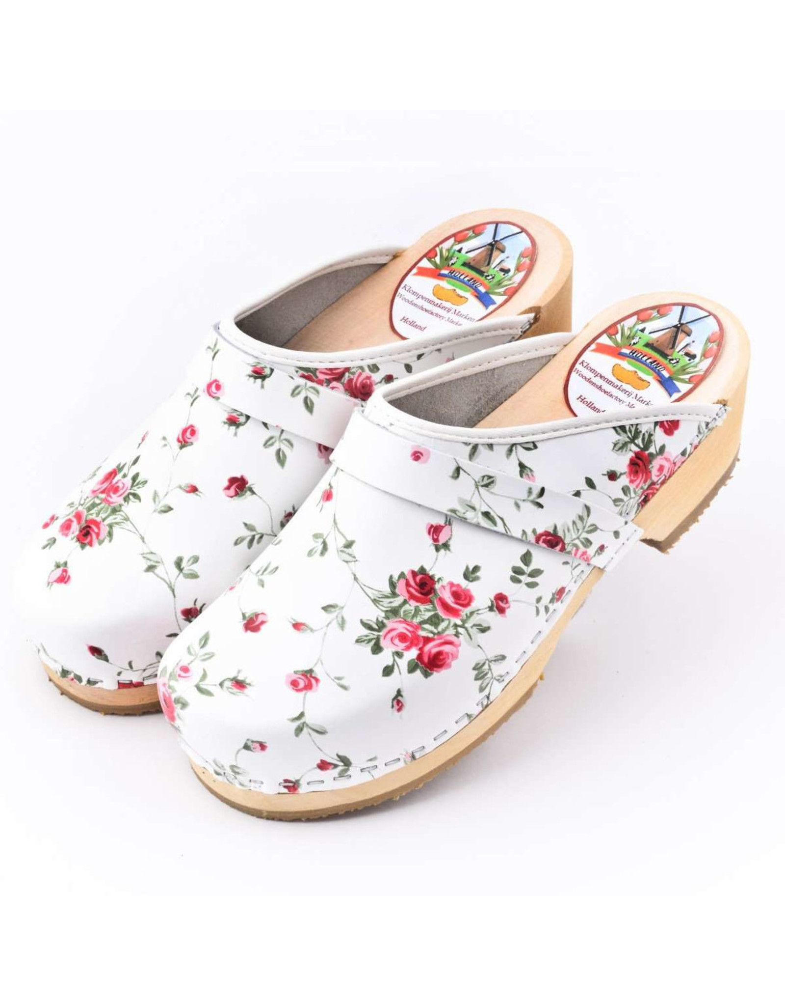 Simson Leather Clogs, Simson, White with Flowers, Orthepedic Footwear