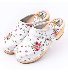 Simson Leather Clogs,  Simson,  White with Flowers