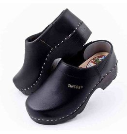 Simson Leather Clogs, Simson, Black  Closed Heel