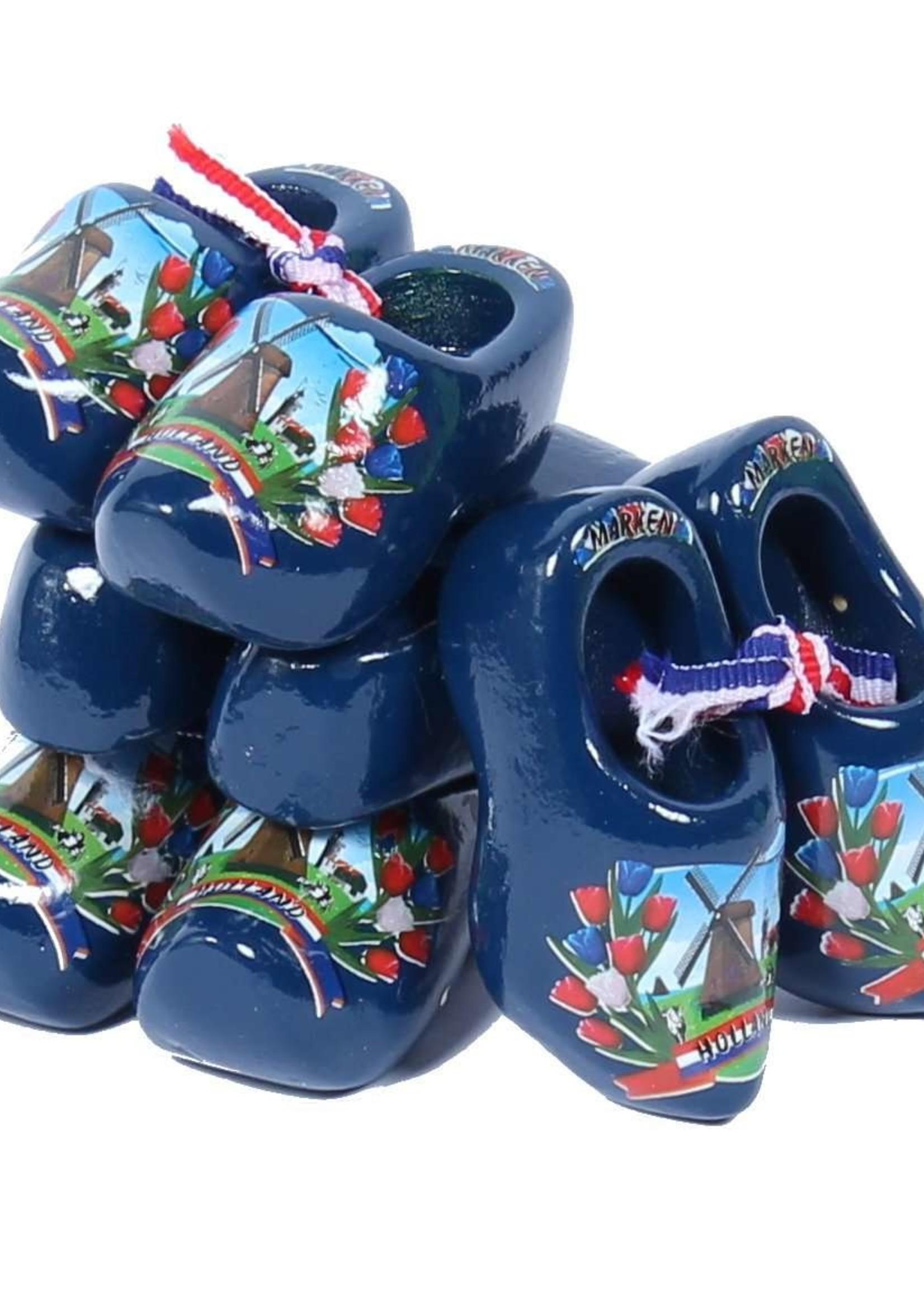 4 Souvenir Klompen, Blauw , 6 cm