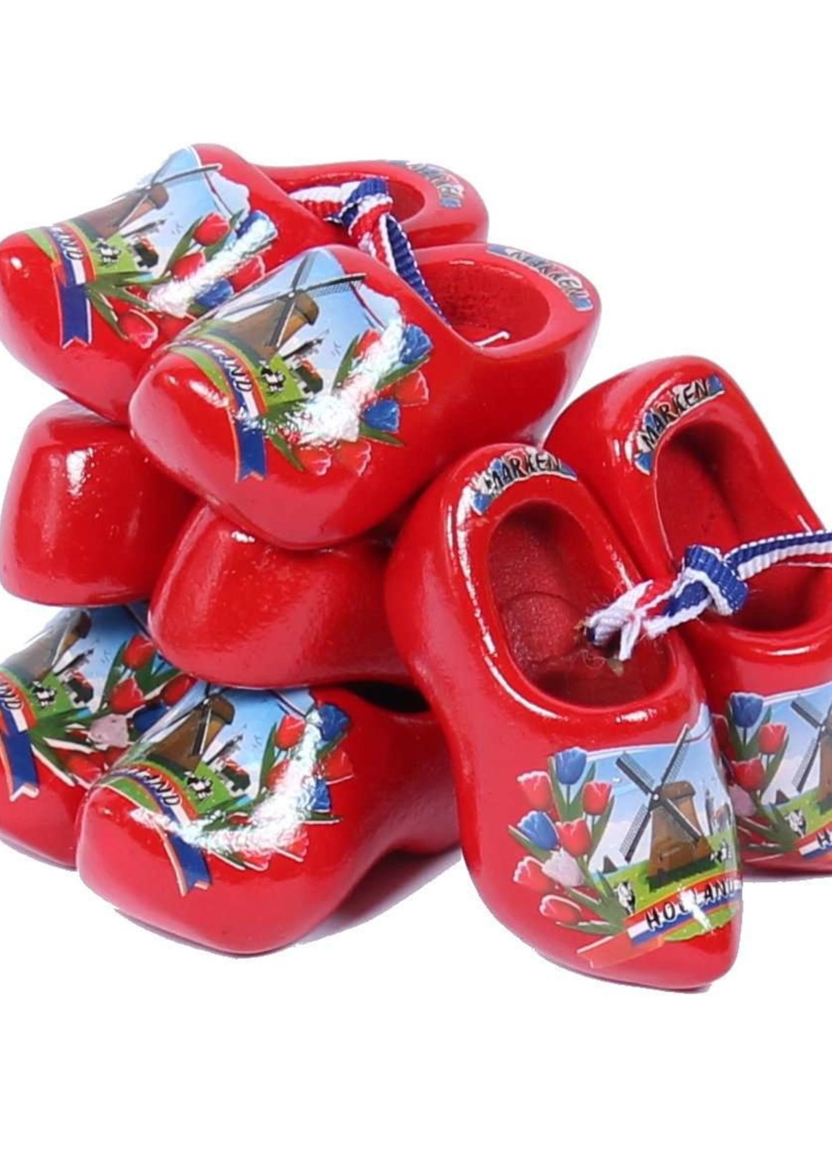 4 Souvenir Klompen, Rood , 6 cm