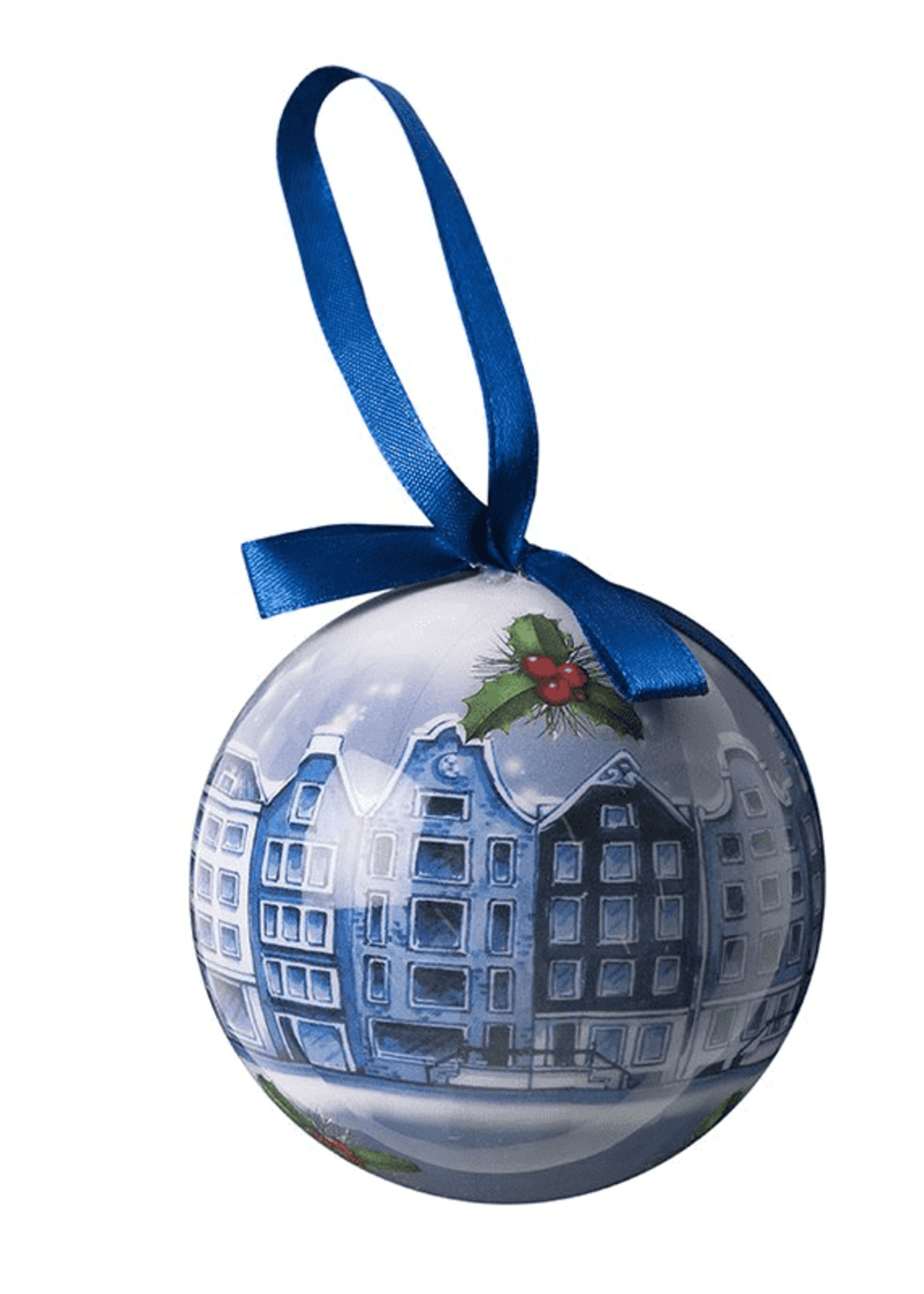 Christmas Ornament, Delft Blue, Amsterdam Canal Houses