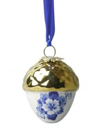 Christmas Ornament, Delft Blue, Acorn with Gold Cap