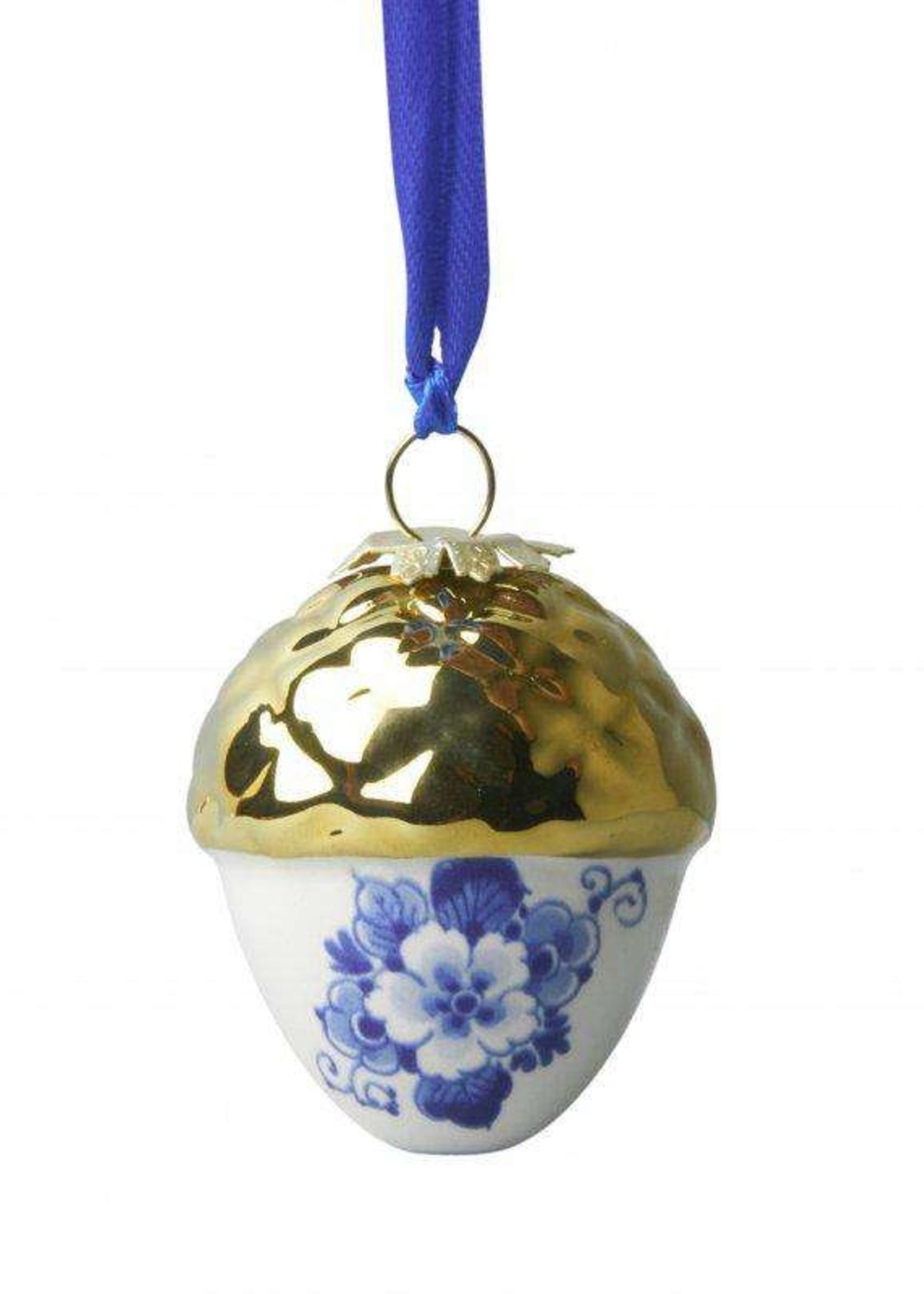 Kerstbal, Delfts Blauw, Eikel met Gouden Dop