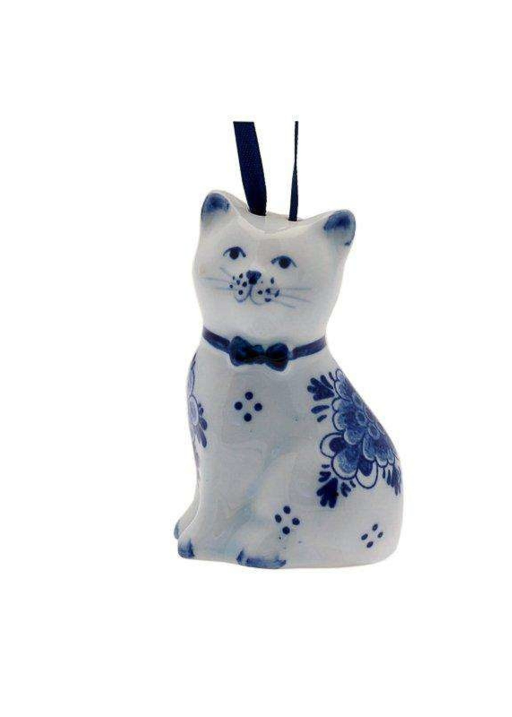 Christmas Ornament, Delft Blue, Cat with Flower