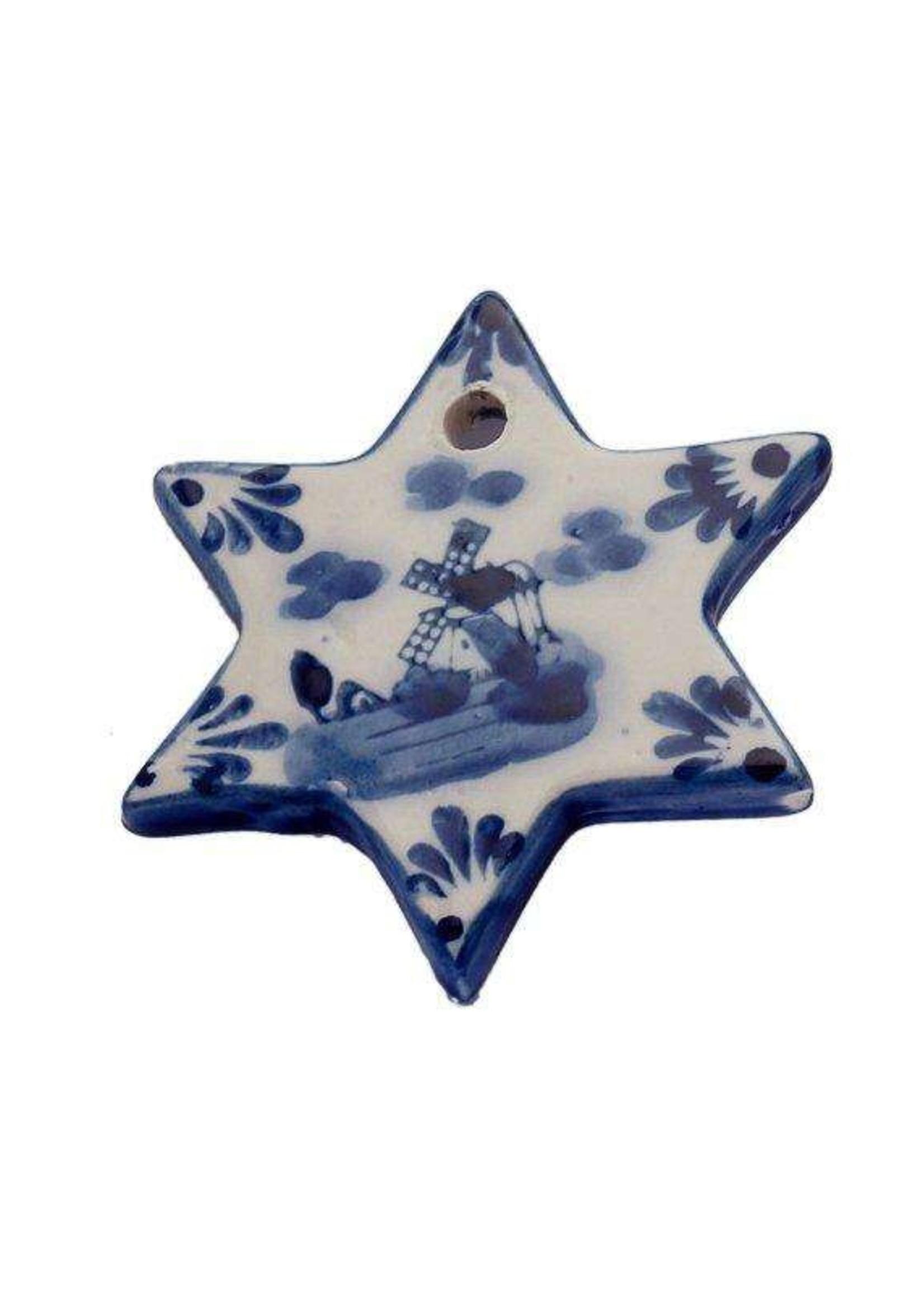 Christmas Ornament, Delft Blue, Flat Christmas Star