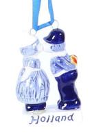 Christmas Ornament, Delft Blue, Kissing Couple