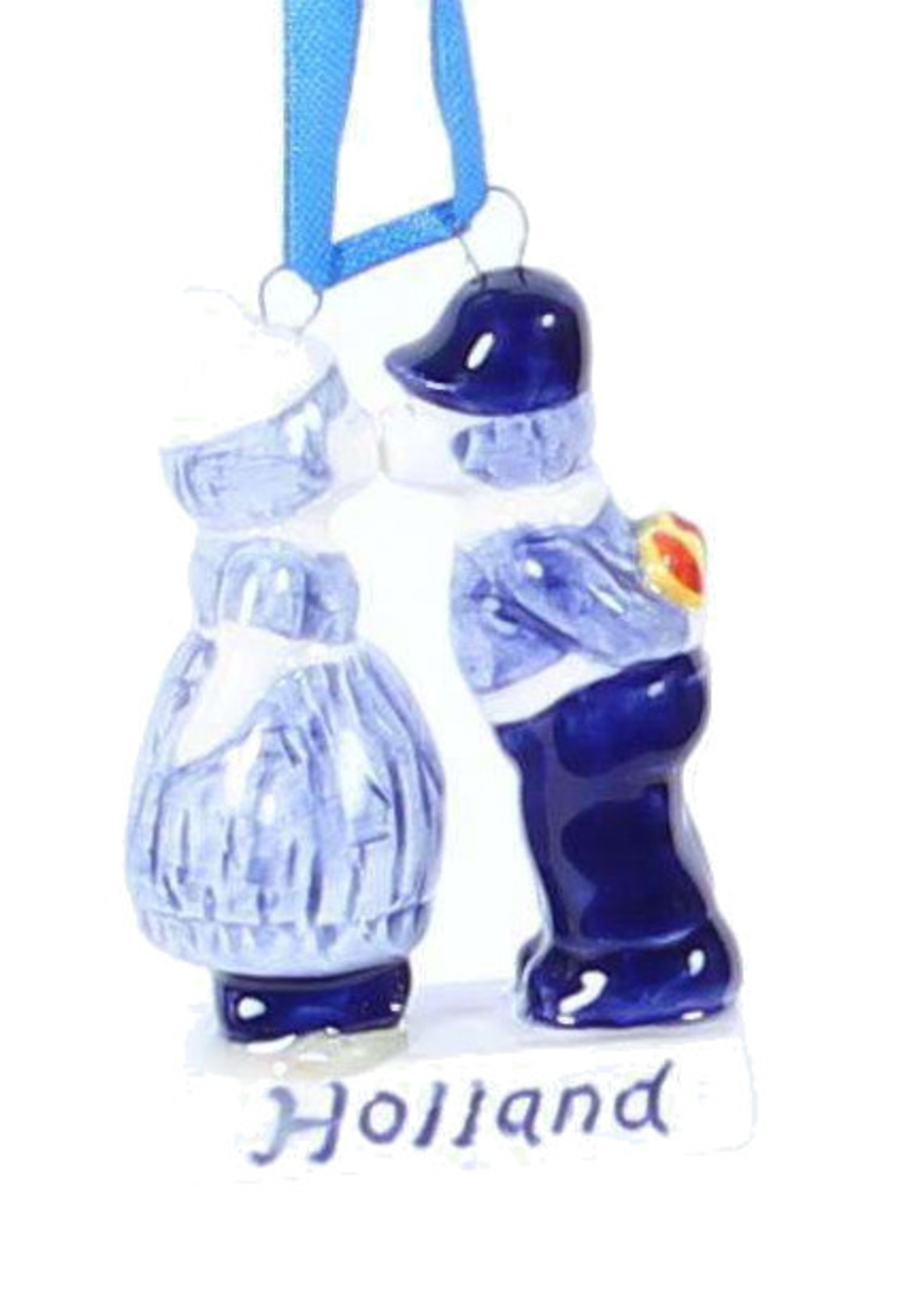 Christmas Ornament, Delft Blue, Kissing Couple