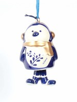Kerstornament, Delfts blauw, Pinguïn met Poten als een Bel 1