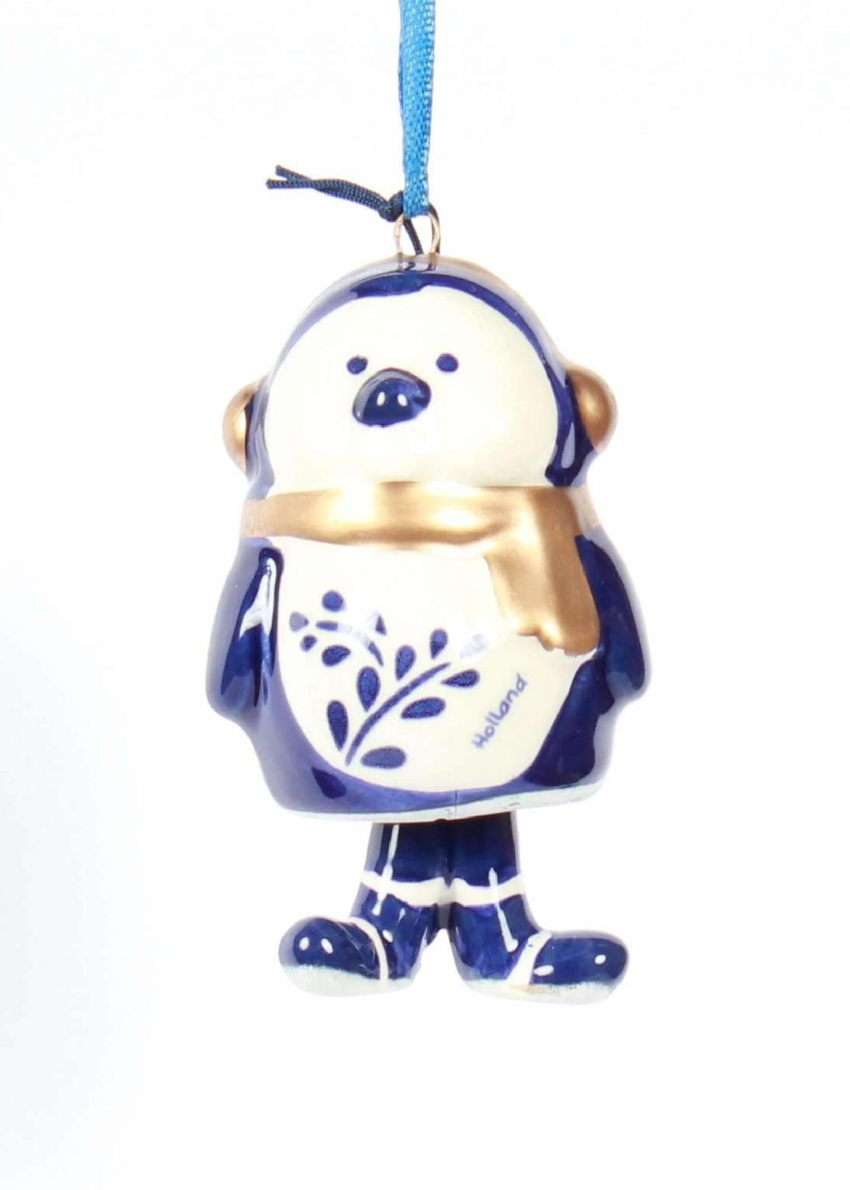 Christmas Ornament, Delft Blue, Penguin Bell-Style Legs 1