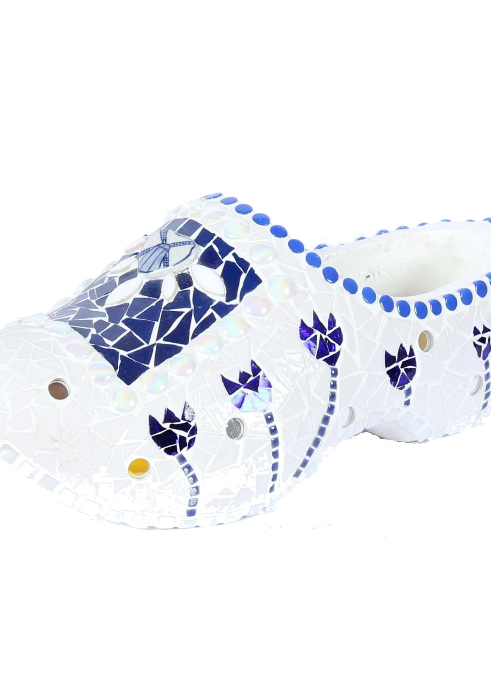 Blauw Witte Mozaiek Kunst Klomp, Handgemaakt