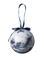 Christmas Ornament, Delft Blue, Plastic Ball with Windmill