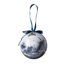 Kerstbal, Delfts Blauw, Plastic Bal met Windmolen