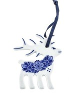 Christmas Ornament, Delft Blue, Reindeer with Flower