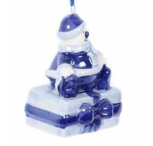 Christmas Ornament, Delft Blue, Santa Snowman on Present