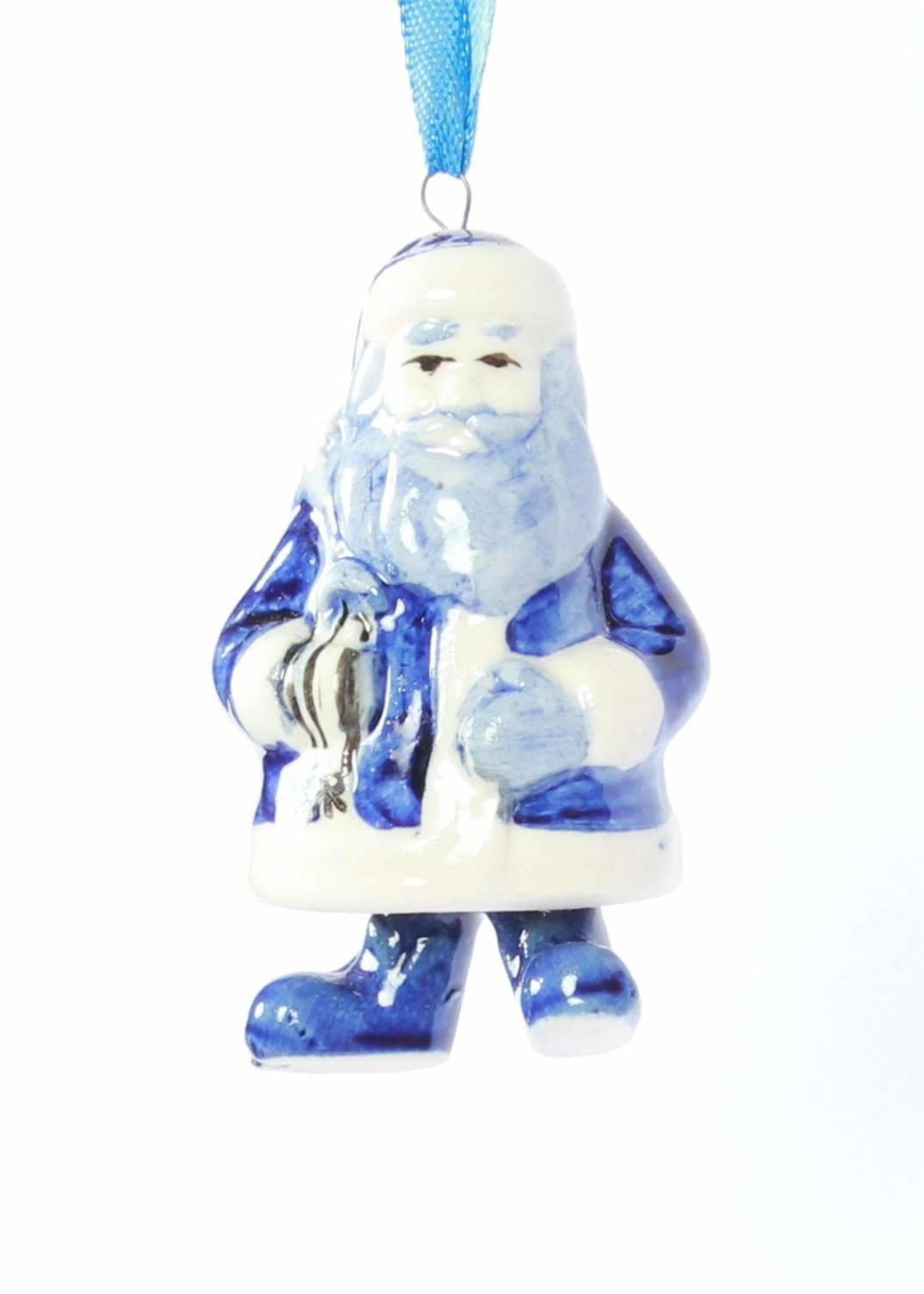 Christmas Ornament, Delft Blue, Santa with Bell-Style Legs
