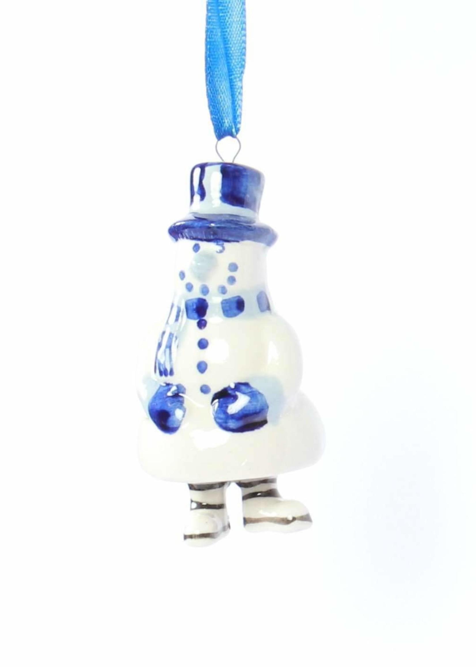 Kerstbal, Delfts blauw, Sneeuwpop met Poten als een Bel