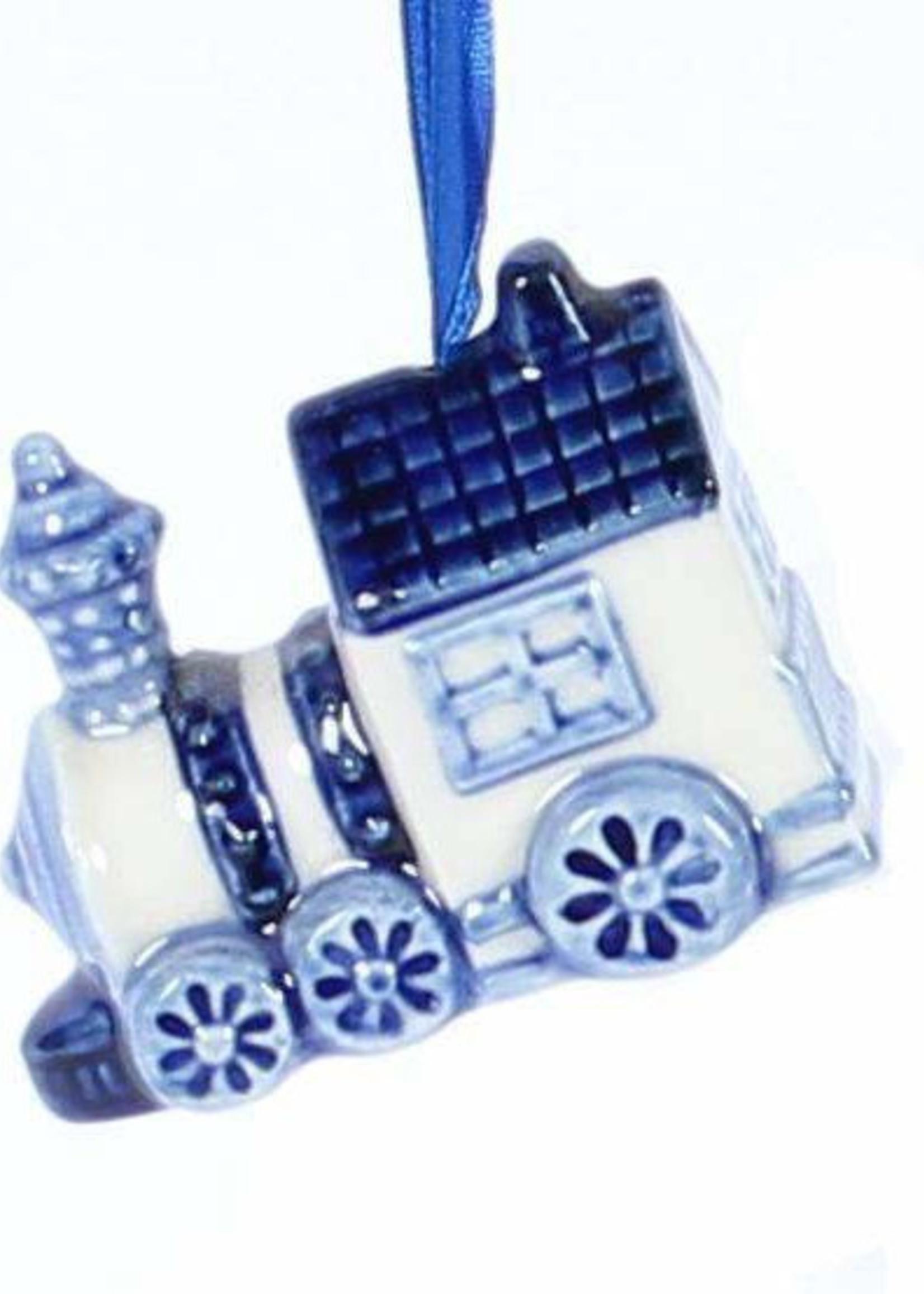 Christmas Ornament, Delft Blue, Train