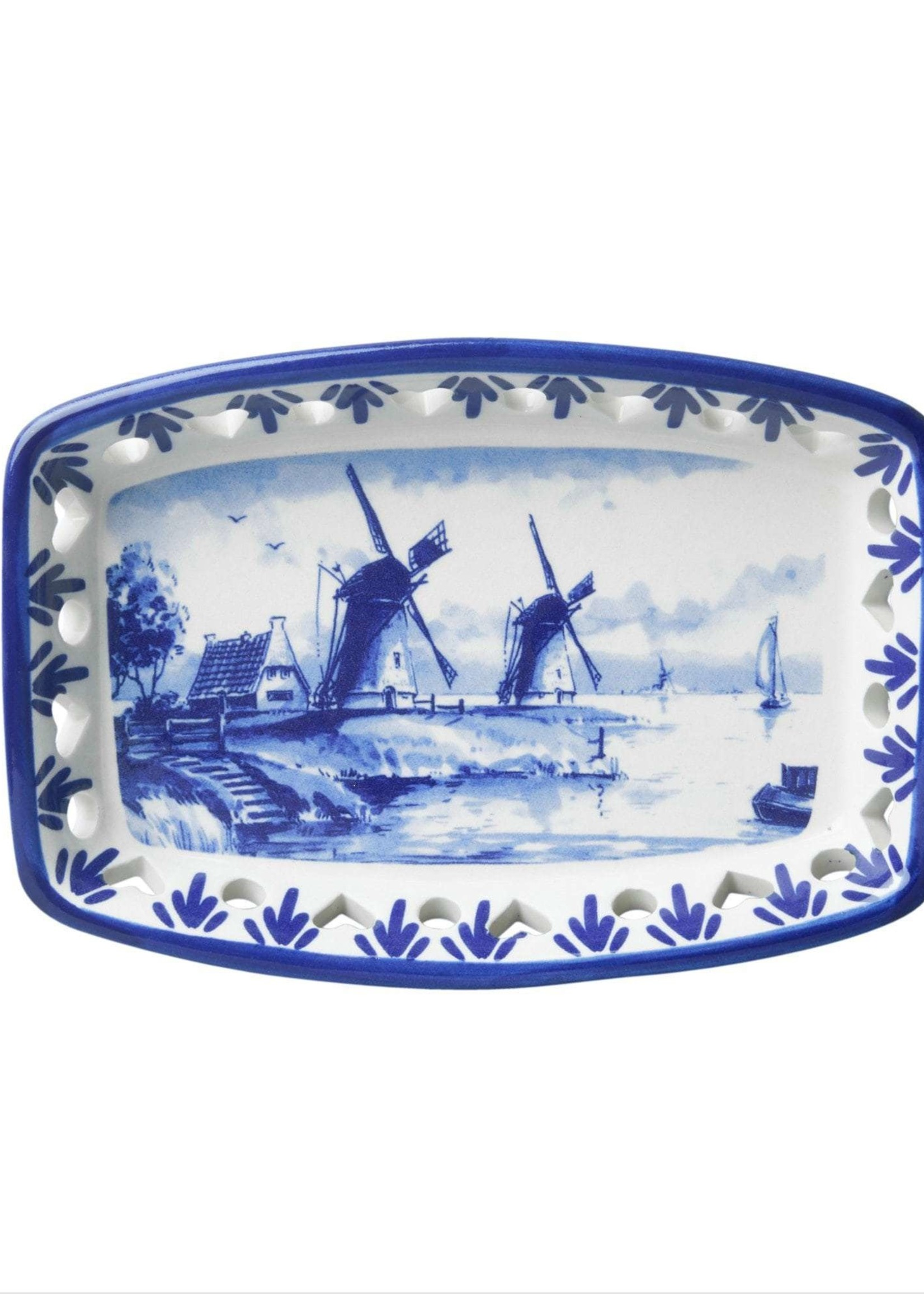 Delfts Blauwe Ajour Schaal met een Windmolen, Rechthoekig