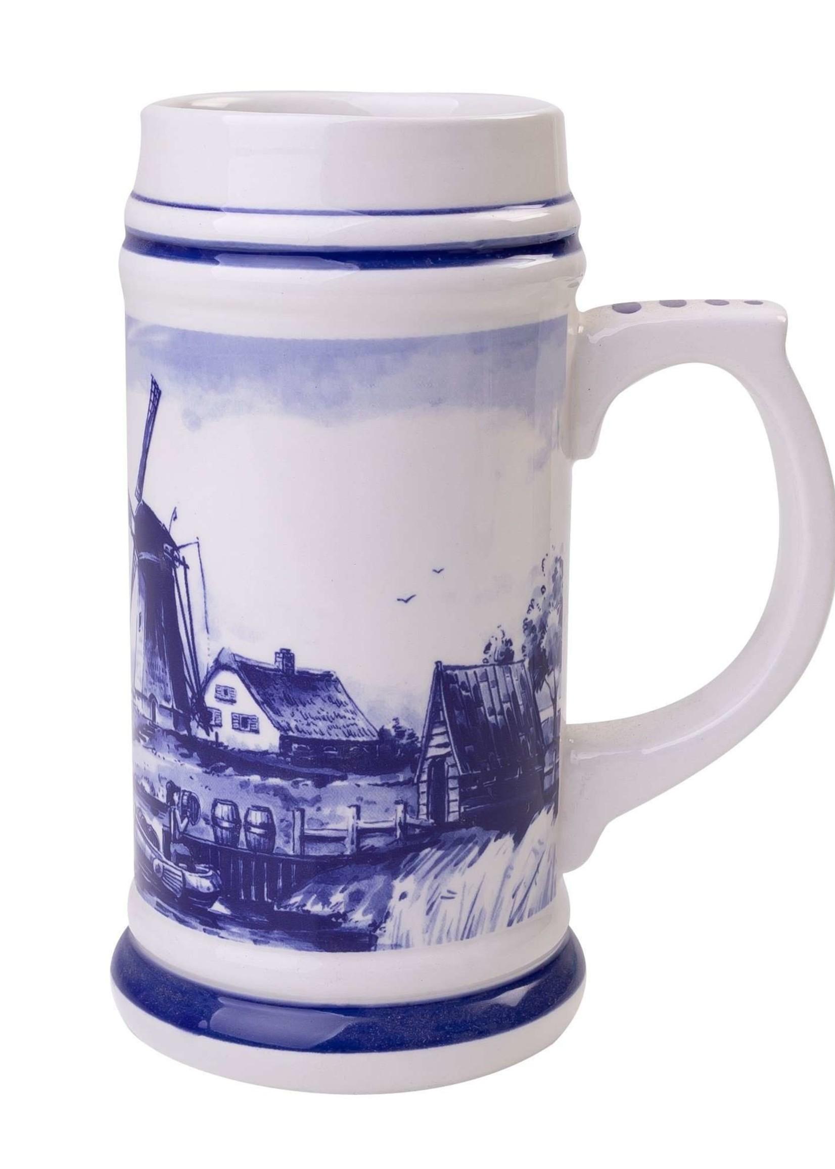 Delfts Blauwe Bierpul met een Typisch Hollands Landschap, Groot