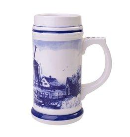 Delft Blue Beer Mug with a Typical Dutch Landscape, 3 L / 0,8 US Gal