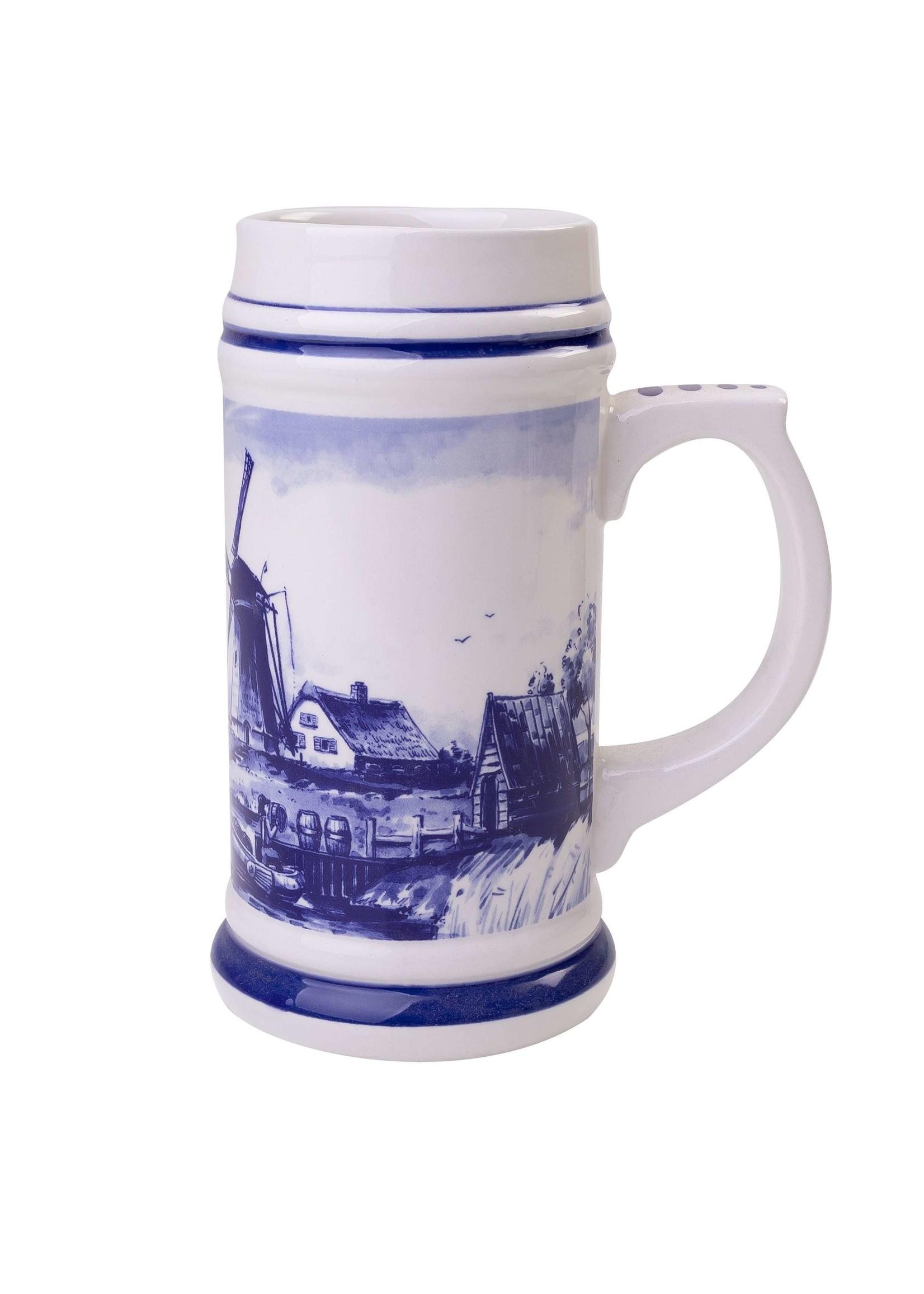 Delft Blue Beer Mug with a Typical Dutch Landscape, 350 ml 11,8 oz