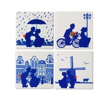 Delft Blue Ceramic Coasters with 4 Images of Dutch Kissing Couples