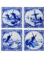 Delfts Blauwe Onderzetters met 4 Afbeeldingen van Hollandse Molens